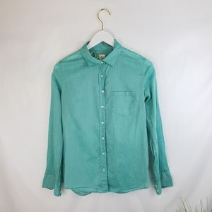J. Crew 'The Boy Shirt' Button-up in Teal Size 4